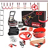Fofana Ninja Warrior Obstacle Course for Kids – 45-Piece Outdoor Playset for Ages 6+ with 11 Unique Obstacles, 65 Ft. Slackline, and Easy-to-Adjust Carabiner Hooks – Sports & Outdoor Play Toys