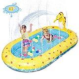 """Inflatable Sprinkler Kiddie Pool,Toddler Pools Water Sprinkler Pool,Backyard Splash Pad Water Play Toys Blowup Kids Pool,Cute Dinosaur Pools,67""""×40.5""""×7.8"""""""