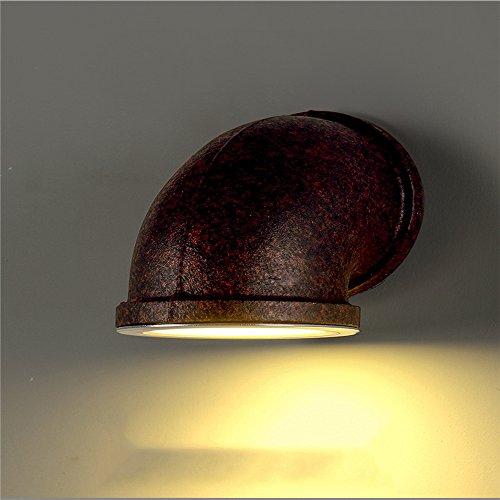 Z&MDH Gepersonaliseerde retro-wandlamp, industrieel waterpipe wandlamp, woonkamer gang balkon gang verlichting decoratie, roestkleur, diameter 135 mm, hoogte 160 - 220 V, zonder lichtbron)