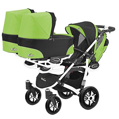 Kinderwagen für Zwillinge und älteres Kind 2 Gondeln 3 Sportsitze Trippy Kinderwagen 2in1 weißer Rahmen (schwarz grün 06)