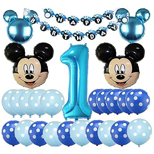 Mickey Globos HANEL-Decoraciones de Cumpleaños de Mickey Mouse, 1er Cumpleaños Bebe Azul Globos Decoracion Mouse Party Globos Latex Ballon para Party Comunion Bautizo Decoracion