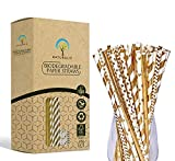 Naturalik 100-Pack Biodegradable Gold Paper Straws- Extra Durable Gold Drinking Straws- Striped/Wave/Heart/Star/Solid Gold Straws for Birthday, Wedding, Bridal/Baby Shower and Party Supplies
