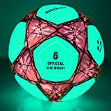 Sunsea Glow in The Dark Size 5 Soccer Ball Light up Star Soccer Ball-Official Size and Weight Ball (Red-Green)