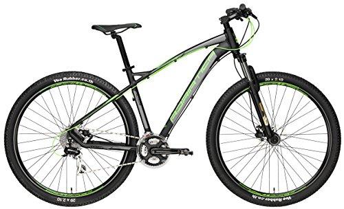 """Mountain Bike Cicli Adriatica Wing RS 29 con telaio in alluminio, freni a disco idraulici, forcella anteriore ammortizzata, ruote da 29\"""", cambio Shimano a 24 velocità (Nero / Verde, 44)"""