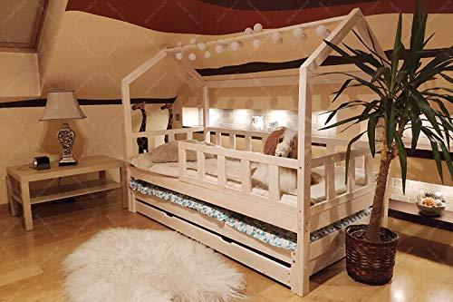 Hyggelia Oliveo Doppelbett Bett für Kinder, Hausbett, Kinderhaus, Kinderbett Sicherheitbarieren mit Schublade Natur Holz, 5 Tage Versand (200 x 90 cm, Natürliches Holz)