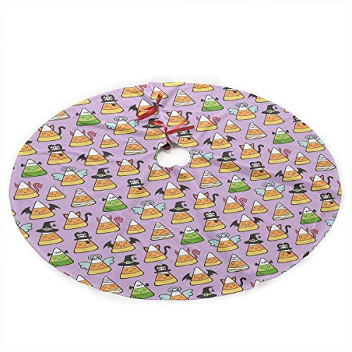 Funny Z Candy Corn Halloween Fall Doodle Traditional Christmas Tree Skirt Santa Reindeer Tree Ornaments Tree Skirt for Christmas Decoration 30 Inch