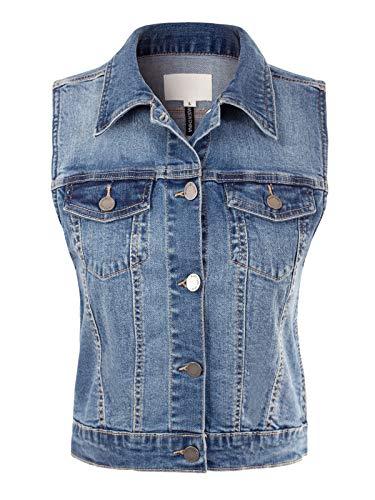 Design by Olivia Women's Junior Fit Sleeveless Button up Jean Denim Jacket Vest Medium Denim 1XL