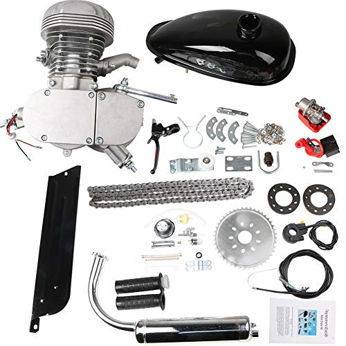 Niome 100cc 2-Stroke Bicycle Gasoline Engine Air-Cooled Motor Kit for Motorized Bicycle Push Bike (Silver)
