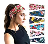 PLOVZ 6 Pack Women's Yoga Running Headbands Sports Workout Hair Bands (Set 2)