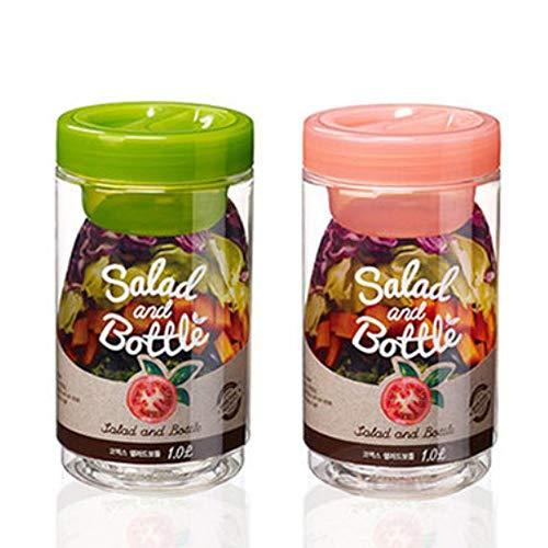 Komax Salad Bottle Set of 2, with Leak Proof Salad Sauce Dressing Case (Pink, Green)