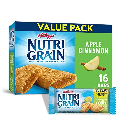 Kellogg's Nutri-Grain, Soft Baked Breakfast Bars, Apple Cinnamon, Made with Whole Grain, Value Pack, 20.8 oz (Pack of 3)