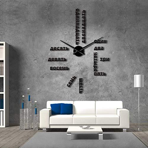 RRBOI Langue étrangère Bricolage géant Horloge Murale Grand Chiffres soviétiques Grande Horloge Montre Chambre de bébé décoration préscolaire Montre (Noir)-47inch