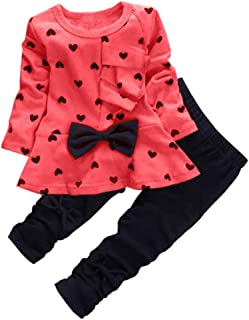 0-5 Years Kids Baby Girls Clothes Cute Heart-Shaped Print Bow Tops T Shirt + Pants Leggings 2Pcs Outfits Sets