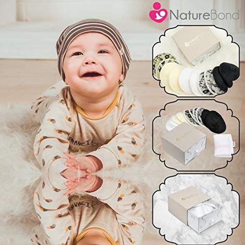 母乳パッド布製授乳パッド洗い替え天然の竹布製コットン(10枚入セット)NatureBondネイチャーボンド【日本正規品保証付】|円錐形のレース製の母乳パッド|綺麗で超吸収|低刺激性|洗濯ネット|出産祝いのギフトにピッタリ…(5色)