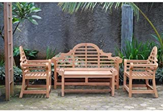 Windsor's Premium Grade A Teak Lutyens 4pc Set,from Indonesian Plantations, 3 Seater Bench 65