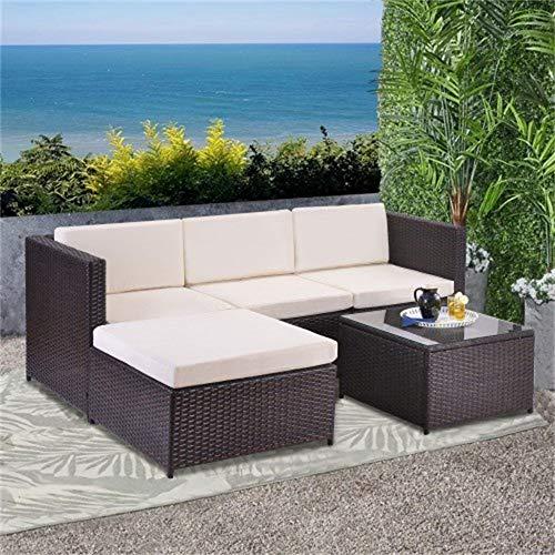 LuminPool Poly Rattan Lounge-Sofagarnitur, Lounge-Gartenmöbel, Ecksofa, Couchgarnitur mit Sitz- und Rückenkissen, Lounge-Tisch mit Glasplatte, Braun