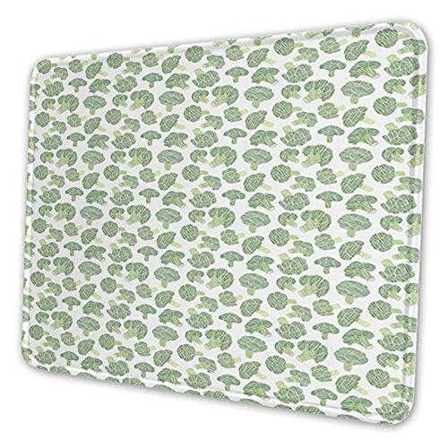 Rechthoekig gepersonaliseerd ontwerp Premium textuur muismat waterdicht antislip rubber,continu voedselpatroon met Sketchy Hatched Broccoli