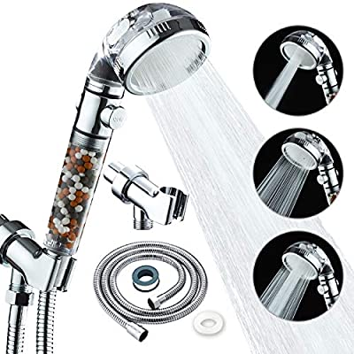KAIREY Zen Shower Head with Beads On/Off,3 Function High Pressure Water Saving Filtered Handheld Ionic Showerhead,Anion Energy Ball Purifies Water Shower ,with 60 Inch Shower Hose and Bracket
