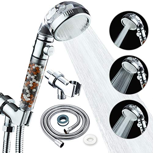 KAIREY Zen Shower Head with Beads On/Off,3 Function High Pressure Water Saving Filtered Handheld Ionic Showerhead,Anion Energy Ball Purifying Water Shower ,with 60 Inch Shower Hose and Bracket