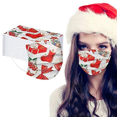 ZHX 50 Stück 3-lagig Erwachsenenmäske mit Weihnachten Motiv Mund und Nasenschutz,Einweg-Gesichtsabdeckung Staubdich Outdoor Mundschutz Halstuch für Herren und Damen (N)