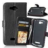 FUBAODA for für Alcatel One Touch Pop C7 Tasche Schwarz+Kostenlos Syncwire Ladekabel, Leder Hülle, Kartenfächer Ständerfunktion Hülle für for für Alcatel One Touch Pop C7(7041D 7040D)(schwarz)