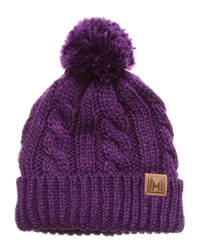 MIRMARU Winter Oversized Solid Color Cable Knitted Pom Pom Beanie Hat with Fleece Lining.(Purple)