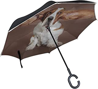 KUneh Double Layer Inverted Basset Hound Flying Ears Stand Studio Umbrellas Reverse Folding Umbrella Windproof Uv Protection Big Straight Umbrella for Car Rain Outdoor with C-Shaped Handle