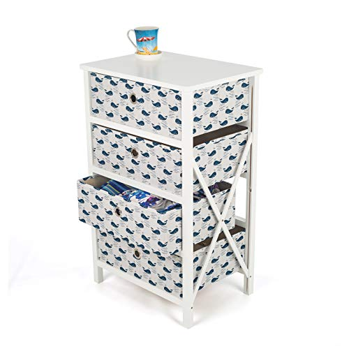 Roamwild Verticale 4 lades Grote opslag Organizer Toren - Gemakkelijk Tool-less montage - Stevig houten frame met gemakkelijk te trekken stof Bins - Voor slaapkamer, hal, entree, Kasten
