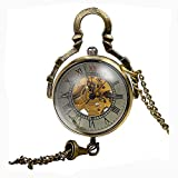 Carrie Hughes Womens Ladies Steampunk Glass Ball Transparent Skeleton Mechanical Pocket Watch with Chain CH199B (CH199B)