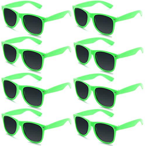 FSMILING 8 Paare Neon Party Sonnenbrille Set 80er Retro Klassisch Partybrillen für Kinder Herren Damen(Grün)