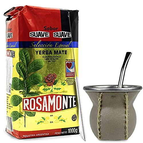 Juego de té mate: Yerba Mate té Rosamonte Suave Special Selection 1 kg | Vaso mate de cristal con revestimiento de piel auténtica (marrón claro) – CalebBass | Bombilla | Cepillo de limpieza