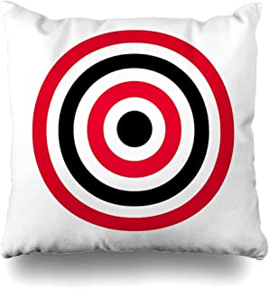 Ahawoso Throw Pillow Covers Hit Red Bullseye Circle Target Archery Shoot Eye Abstract Yellow Black White Aim Pattern Accurate Home Decor Pillow Case Square Size 16 x 16 Inches Zippered Pillowcase