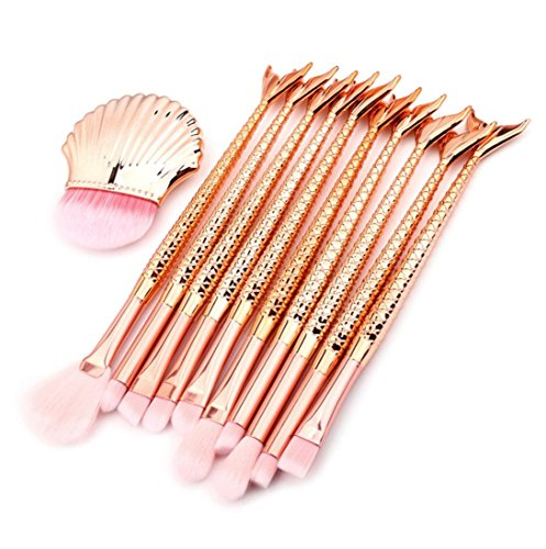 URSING 11 PCS Make Up Fondation Sourcils Eyeliner Blush Cosmétique Concealer Brosses Professional Maquillage Set de brosse Maquillage Kit de Toilette Set de Brosse de Maquillage Marque de Laine Kit De Pinceau Maquillage Professionnel Eyebrow Shadow Blush Fond De Teint (regarder la photo, Multicolore)