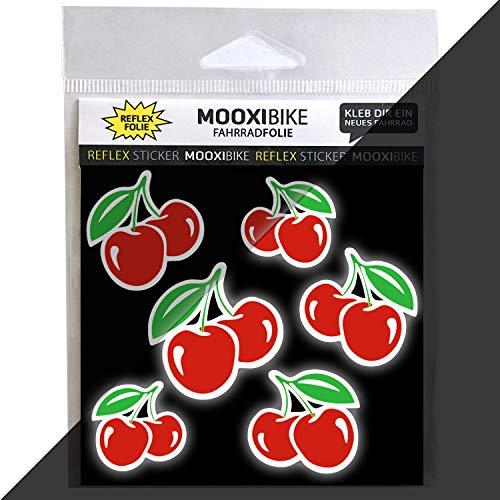 MOOXIBIKE I Sticker Cherry Lady rot reflektierend, für Cargobike, Lastenrad, Fahrrad, Scooter, Roller & Helm, auch für Rennrad, Trekkingrad, Fixie, Mountainbike, Hollandrad, Citybike & E-Bike