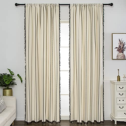 """vctops Farmhouse Stripe Window Curtain Panel with Tassels Cotton Country Style Room Darkening Curtain Panel for Bedroom Living Room, 1 Piece (59""""x87"""",Black Stripe)"""