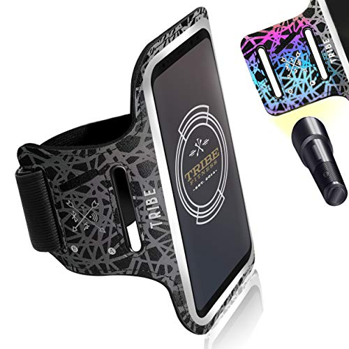 TRIBE Reflective Running Phone Holder Armband. iPhone & Galaxy Cell Phone Sports Arm Band for Women, Men, Runners, Jogging, Gym Workout, Exercise. Fits All Smartphones. Adjustable Strap, CC/Key Pocket