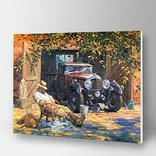 Malen Sie Nach Zahlen Classic Car DIY Acryl Malvorlagen Kunst Auf Leinwand Stillleben Malerei Kits Wandbilder FüR Wohnzimmer Erwachsene Zeichnen 40 * 50CM Kein Bilderrahmen