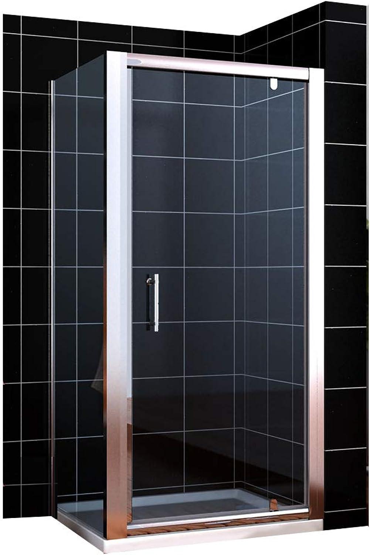 Duschkabine Duschabtrennung 90  90cm Schwingtür + Seitenwand aus Einscheiben-Sicherheitsglas eckdusche Drehpunkt