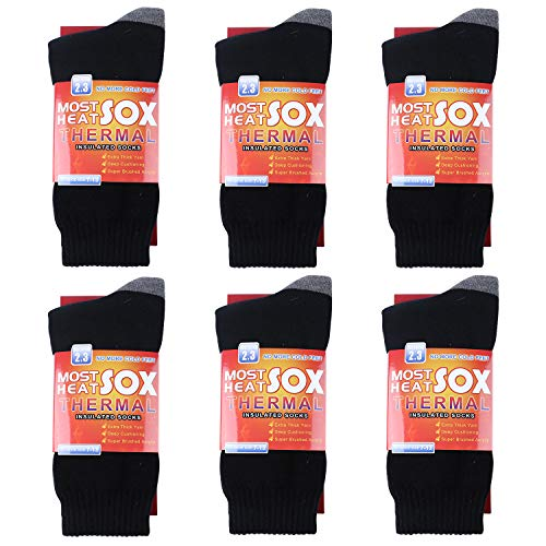 Thermal Socks for Men - Winter Warm Socks Mens Womens for Cold Weather, Extreme Temperatures (black+grey)
