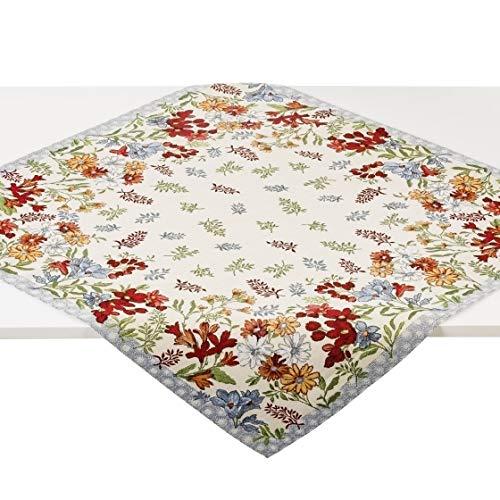 Hesta Tischdecke Elisa Uni, Gobelin Jacquard, 100x100 cm - Qualität und Textiltradition aus Südtirol - 1000 02 002U