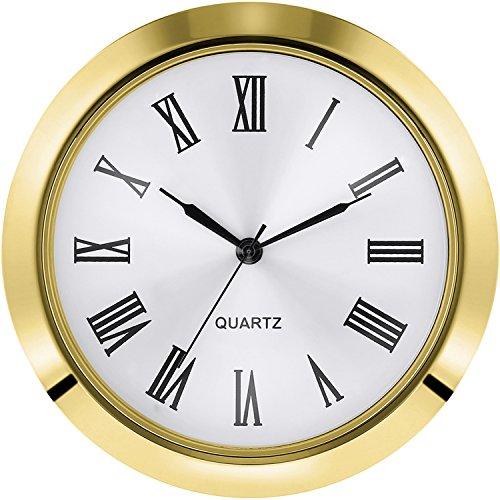 Hicarer 2-1/8 Pulgadas (55 mm) Fit-up/Inserto de Reloj de Cuarzo, para Agujero de Diámetro 1-7/8 a 2 Pulgadas (48-50 mm), Bisel Plateado, Caja Metálica de Aleación de Zinc, Número Romano (Dorado)