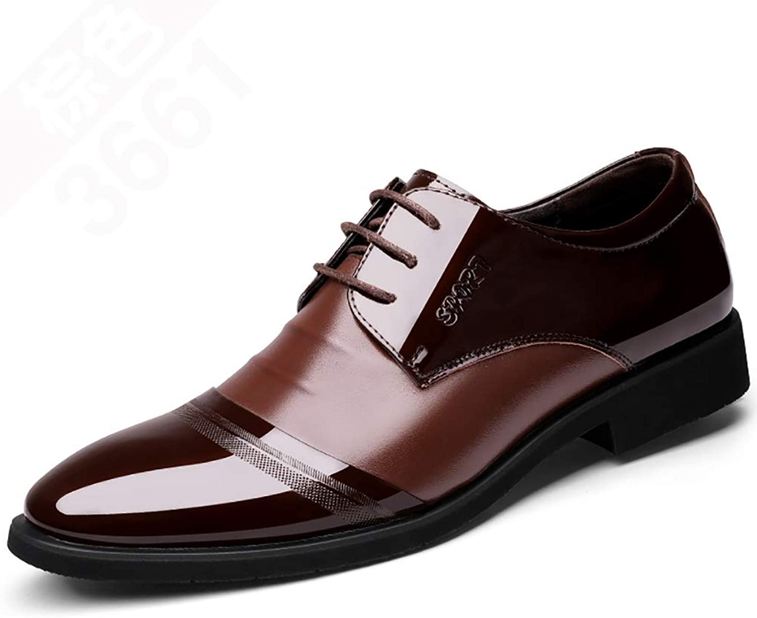 RJNSPx Leather shoes Men's black leather shoes for the four seasons, two layers of leather, business mens dress shoes (color   Brown, Size   5 UK)