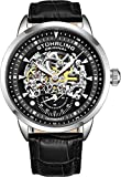 Stuhrling Original Mens Watch-Automatic Watch Skeleton Watches for Men - Black Leather Watch Strap...