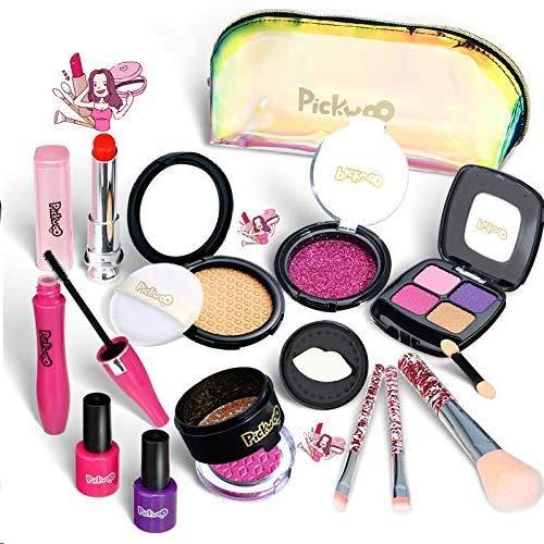 Faux Maquillage Enfant Fille Bio - PréTend coffret malette palette maquillage enfant hypoallergenique -Jouet Ensemble De Maquillage -Coiffeuse Enfant pour Princesse 4 7 8Ans Filles Cadeau Halloween