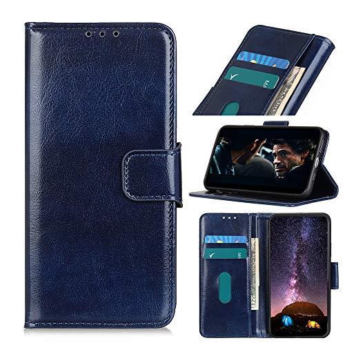 ROVLAK Hülle für LG K50s Flip Wallet Hülle mit Kartenslot Stoßfeste PU Leder Hülle+Innenseite TPU Silikon Hülle mit Kickstand Tasche für LG K50s Smartphone Hülle,Blau
