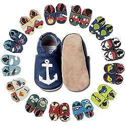 HOBEA-Germany Baby Krabbelschuhe Jungen, Kinderhausschuhe Jungen, Lederschuhe, Schuhgröße:22/23 (18-24 Monate), Modell Schuhe:Anker auf dunkelblau