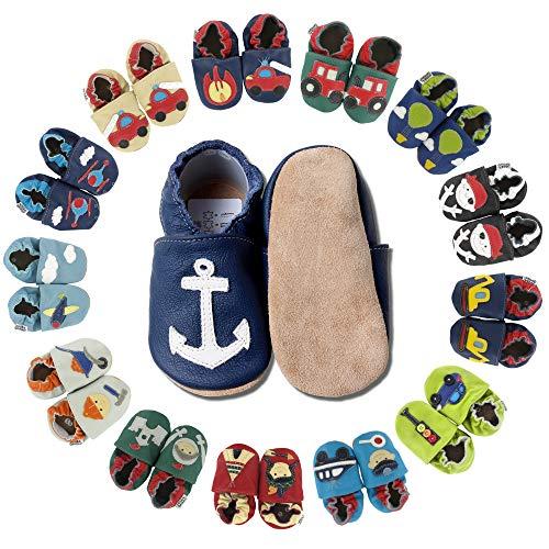 HOBEA-Germany Krabbelschuhe für Jungs und Mädchen in verschiedenen Designs, Kinderhausschuhe Jungen, Lederschuhe, Schuhgröße:18/19 (6-12 Monate), Modell Schuhe:Anker auf dunkelblau