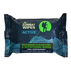 DESIGNED WITH BATTLE-FIELD EXPERIENCE: Stay fresh & clean while on your adventures with outdoor wet wipes developed by elite military soldiers. Unlike regular wet cleaning wipes that easily tear and never give you a clean feel, COMBAT WIPES ACTIVE ar...