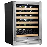 Wine Cooler Built-in Multi-Size Bottle, TS-1 series Wine refrigerator, Double-Layer Tempered Glass Door, Stainless Steel, Front Ventilation (24 Inch 51 Bottles)