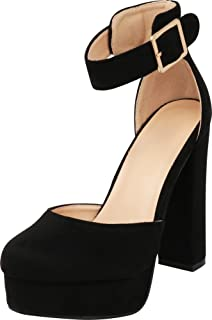 Women's Buckle Thick Ankle Strap Chunky Platform High Heel Pump